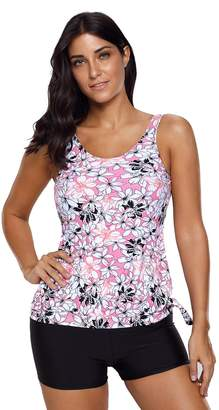 SheShy Womens Floral Printed Tops Two Piece Swimsuit Tankini Set With Boyshort