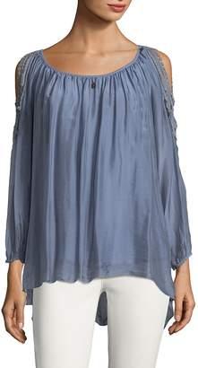 Le Marais Women's Lace Cold-Shoulder Silk Blouse