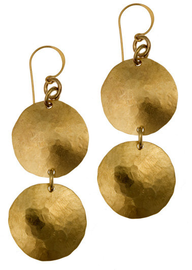 Rebecca Norman Hammered Double Disk Earrings