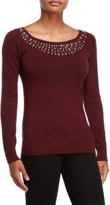 Vila Milano Beaded Keyhole Sweater