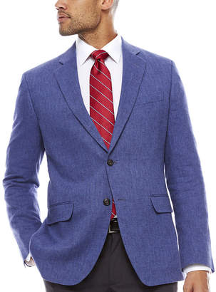 STAFFORD Stafford Linen Cotton Mid Blue Herringbone Sport Coat- Classic Fit