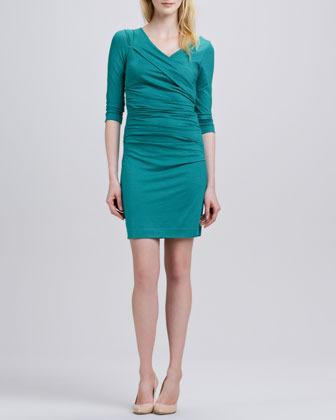 Diane von Furstenberg Bentley Three-Quarter-Sleeve Ruched Dress