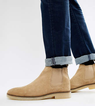 Asos Design DESIGN chelsea boots in stone suede with natural sole