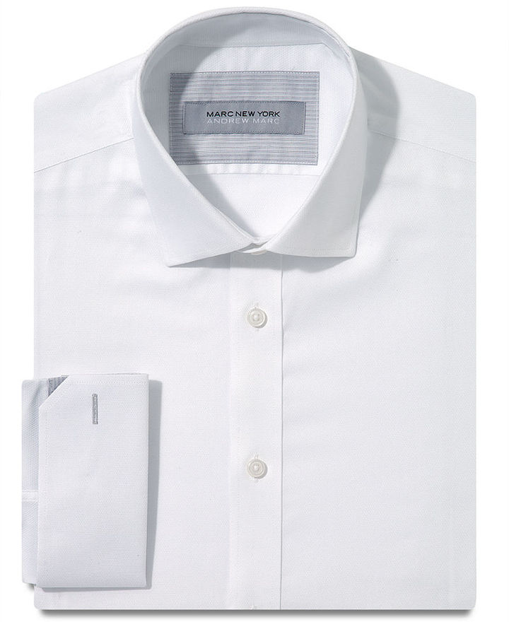 Marc new york dress shirt slim fit white textured solid White french cuff shirt slim fit