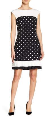 Sandra Darren Sleeveless Polka Dot Pleat Hem Dress