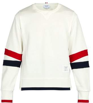 Thom Browne Articulated Striped Cotton Jersey Sweatshirt - Mens - White