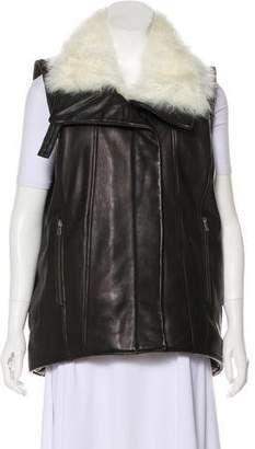 Helmut Lang Fur-Trimmed Leather Vest w/ Tags