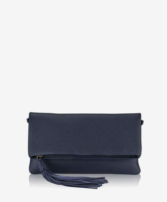 GiGi New York Stella Fold-Over Clutch, Black Pebble Grain
