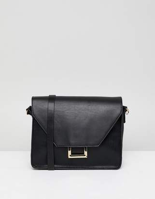 Pull&Bear Square Ring Detail Cross Body Bag In Black