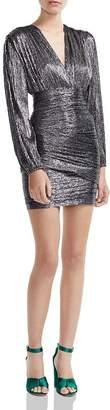 Maje Runny Metallic Wrap-Skirt Mini Dress