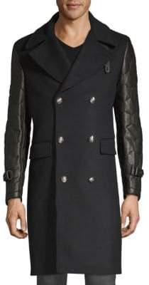 Kent & Curwen Officer Leather-Sleeve Coat