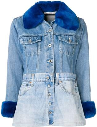 Night Market fur collar patchwork jacket