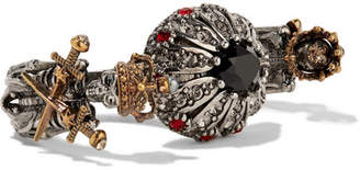 Alexander McQueen - Silver And Gold-plated, Swarovski Crystal And Faux Pearl Two-finger Ring