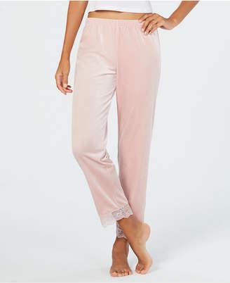 INC International Concepts I.n.c. Lace-Trim Printed Velvet Pajama Pants