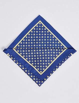 Marks and Spencer Pure Silk Geometric Print Pocket Square