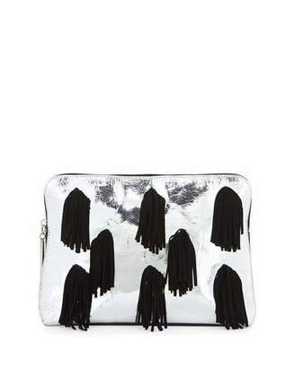 3.1 Phillip Lim Minute Leather Cosmetic Zip Pouch, Silver/Black
