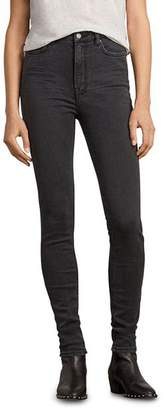 AllSaints Stilt High-Rise Skinny Jeans in Dark Gray