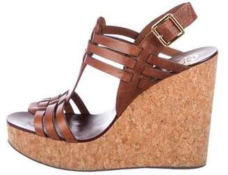 Tory Burch Leather Slingback Cork Wedges