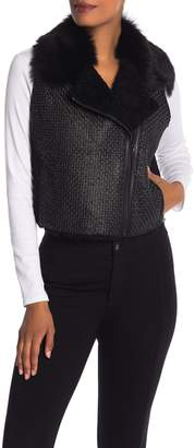 Elie Tahari Leather & Genuine Calf Fur Vest