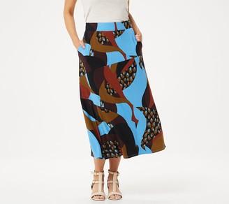 Logo By Lori Goldstein LOGO by Lori Goldstein Printed Rayon 230 Midi Length Skirt