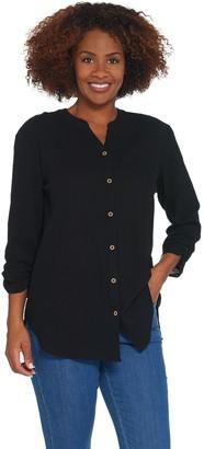 Susan Graver Cotton Gauze Button Front Shirt
