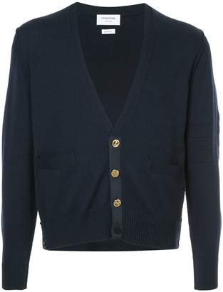 Thom Browne Inside Out Classic V-Neck Cardigan In Fine Merino Wool