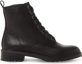 Steve Madden Ladies Black Floral Feminine Officer Leather Ankle Boots