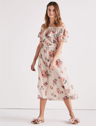 Lucky Brand OFF SHOULDER PRINTED DRESS