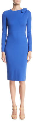 Escada Bow-Shoulder Long-Sleeve Jersey Bodycon Dress