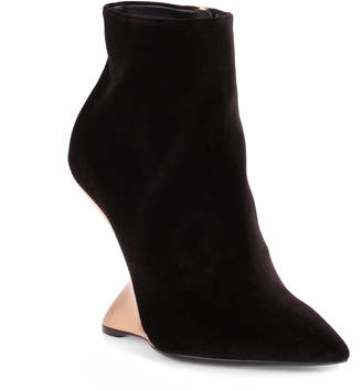 Salvatore Ferragamo Bolgheriv black velvet runway wedge