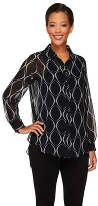 Susan Graver Printed Sheer Chiffon Hi-Lo Hem Button Front Shirt