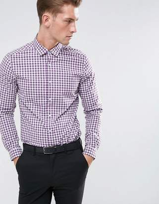 Asos Smart Stretch Slim Poplin Check Shirt In Purple