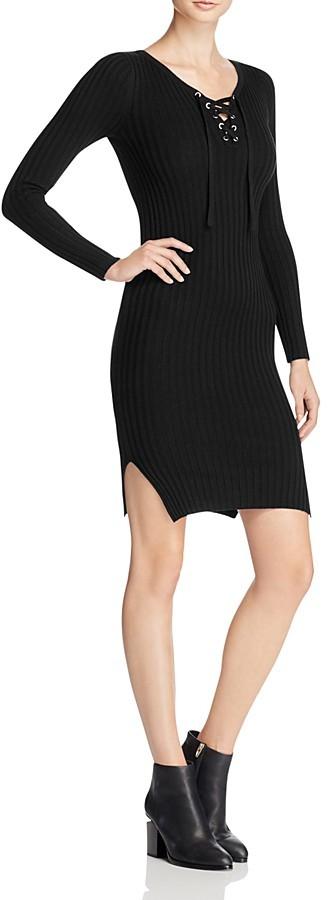 AQUA Lace Up Rib Knit Sweater Dress