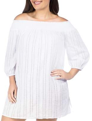 Ralph Lauren Plus Smocked Tunic Swim Cover-Up