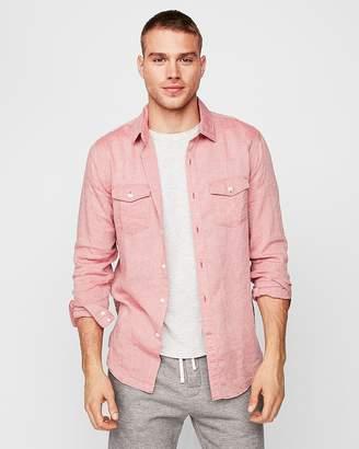 Express Slim Solid Linen Blend Shirt