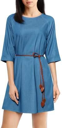 Allegra K Women's 3/4 Raglan Sleeves Belted Denim Mini Dress XS