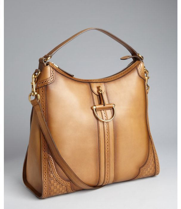 Gucci beige tooled leather medium structured hobo bag