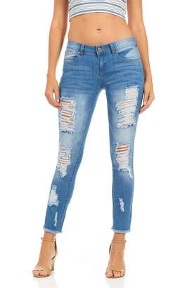 Cover Girl Women's Distressed Ripped Skinny Jeans Plus Size or Juniors Blue 7
