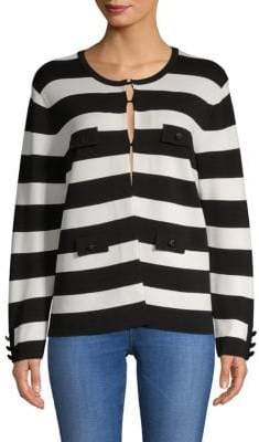Anne Klein Stripe Sweater Jacket