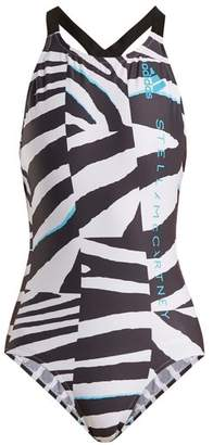 Adidas By Stella Mccartney - Train Zebra Print Swimsuit - Womens - White Multi