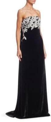 Oscar de la Renta Strapless Leaf Sequin Embroidered Gown