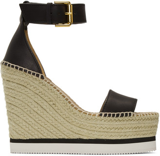 See by Chloé Black Wedge Espadrilles $215 thestylecure.com