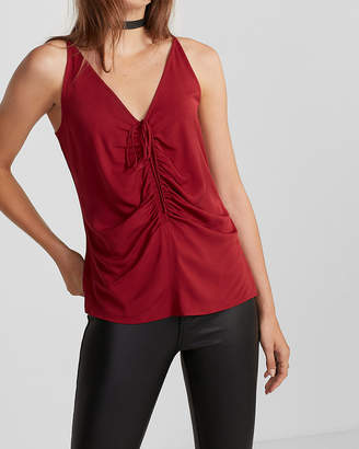 Express Tie Front Ruched Cami