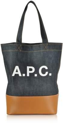 c7c10733a02e A.P.C. Axel Denim And Caramel Leather Tote Bag
