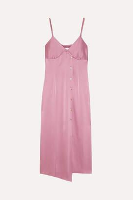 Nanushka Ancens Asymmetric Satin Midi Dress - Magenta