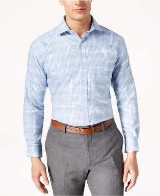 Tasso Elba Men's Classic/Regular Fit Non-Iron Large Glencheck Dress Shirt, Created for Macy's