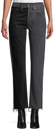 x Levi's 501 Straight-Leg Two-Tone Cropped Jeans w/ Raw-Edge Hem