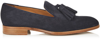 Jimmy Choo FOXLEY Navy Denim Suede Tasselled Slippers