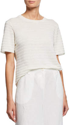 Eileen Fisher Organic Linen & Cotton Crewneck Short-Sleeve Textured Sweater