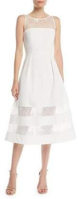 Aidan Mattox Crepe & Lace Tiered A-Line Dress
